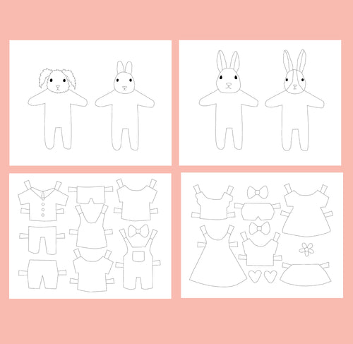 Bunny Paper Dolls Coloring Pages