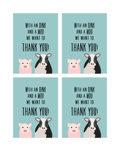 Farm Animals Party Posters, Invitation and Thank You