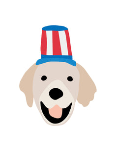 Patriotic Puppy Dog Faces Posters for 4th of July party and wall decor