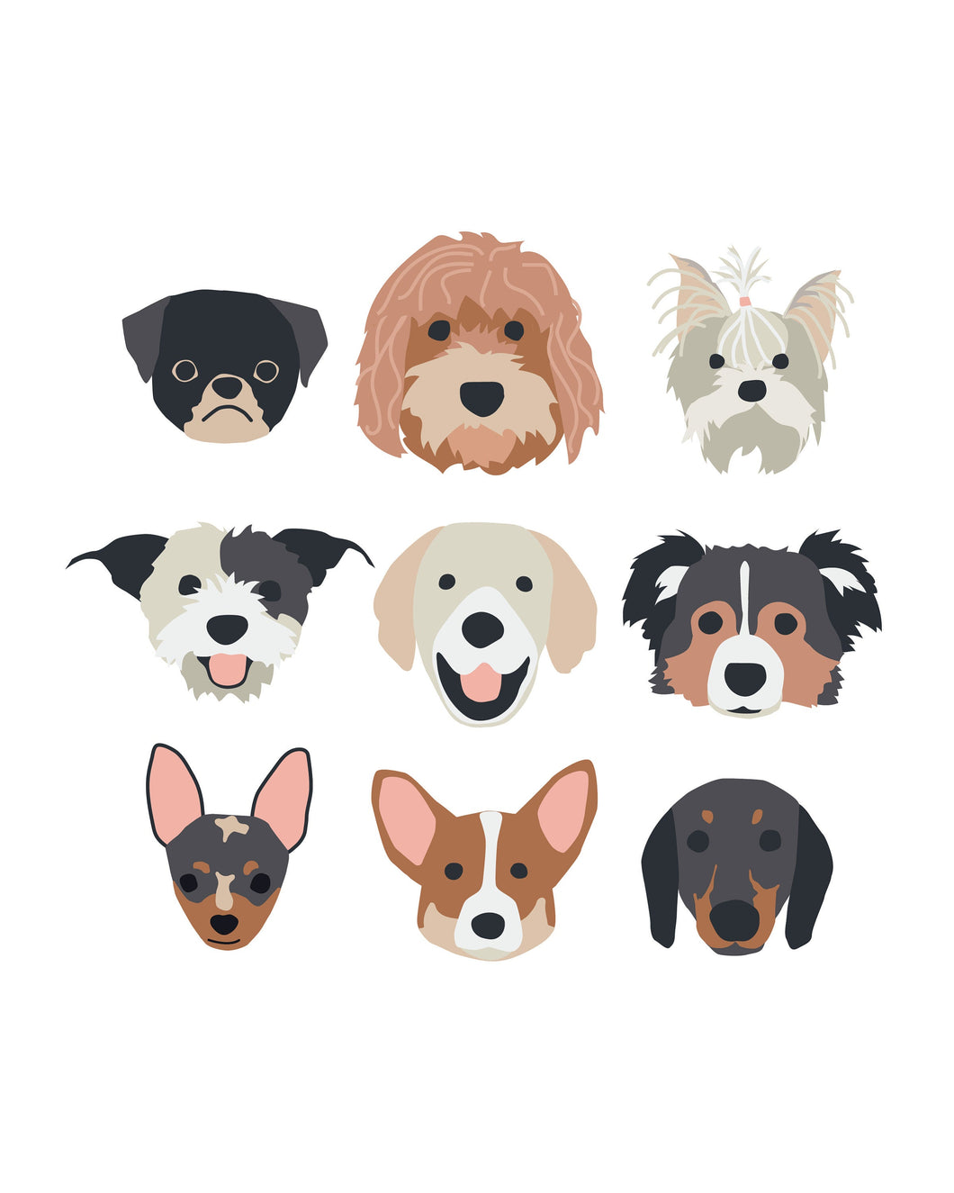 New Puppy Dog Faces (2.0) Posters for party and wall decor
