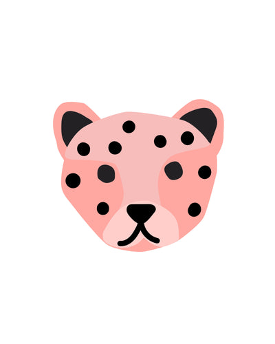 Wild Animals Face party posters and wall art - pink