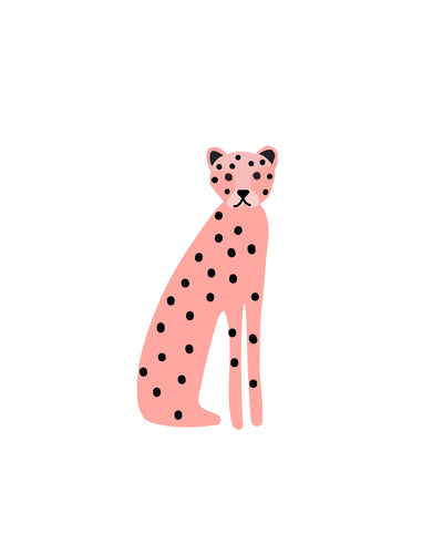 Wild Animals posters for party and wall art - pink