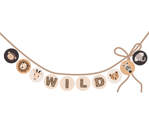 Wild Animals party circles for banner, labels, tags - tan