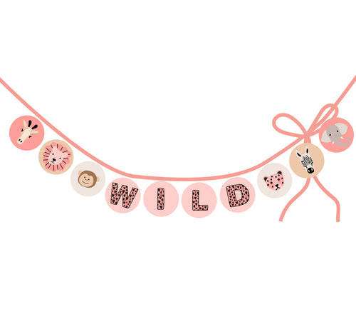 Wild Animals party circles for banner, labels, tags - pink