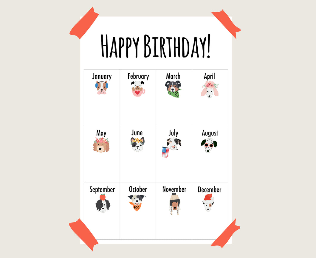 Puppy Dog School Classroom Birthday Poster