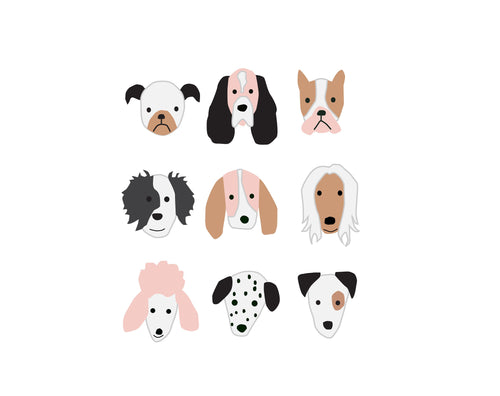 Puppy Dog Faces Group Poster Wall Art