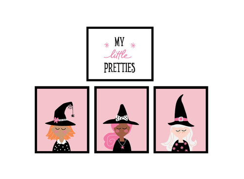 Witch Faces Halloween Decor Wall Art Posters - pink