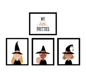 Witch Faces Halloween Decor Wall Art Posters - Bright