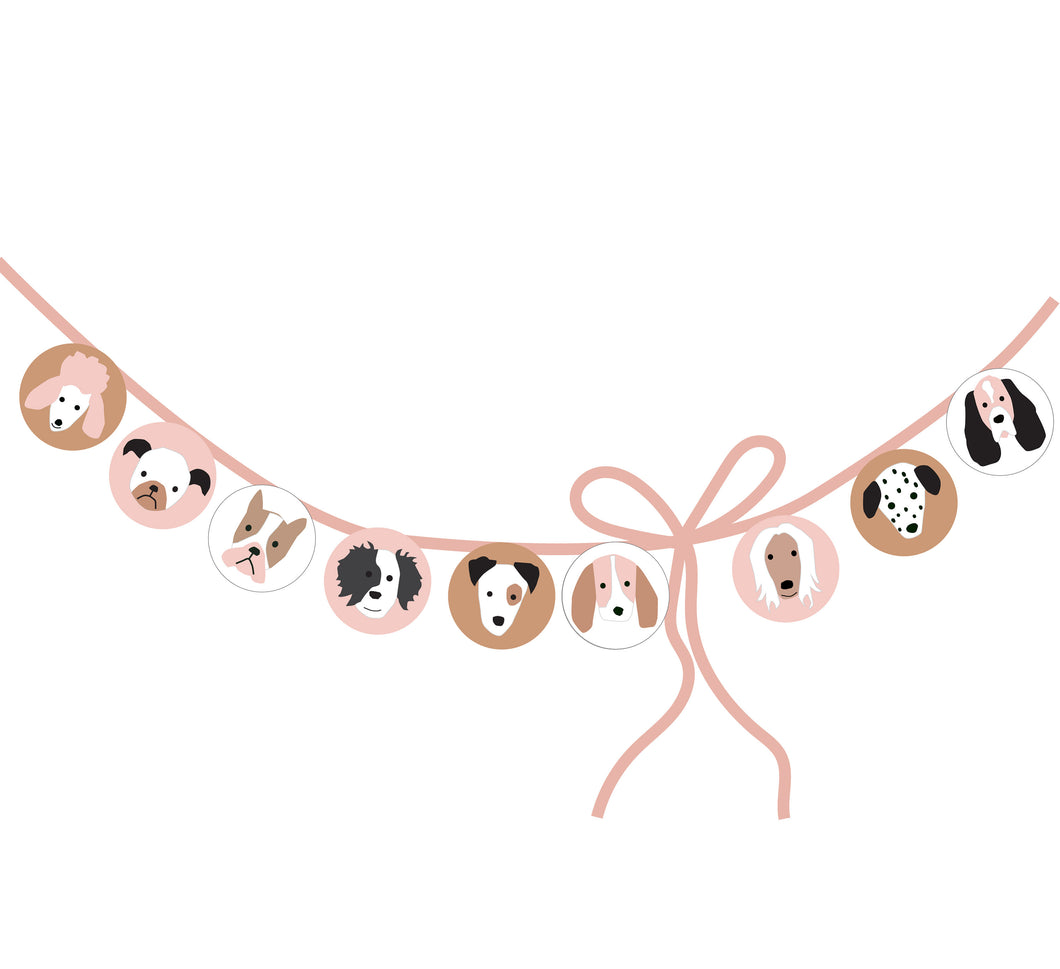 Puppy Dog Birthday Party Circles for Banner and Straw Tags - tan pink and white backgrounds