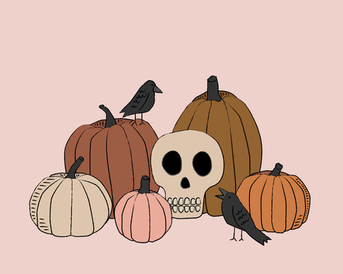 Vintage Halloween Skull, Pumpkins and Crows Wall art