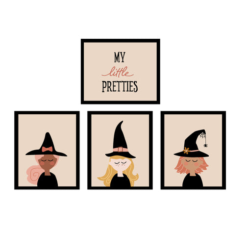 Witch Faces Halloween Decor Wall Art Posters - neutral
