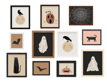 Load image into Gallery viewer, Vintage Halloween Illustration Posters Crow / Raven on the Moon