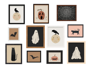 Vintage Halloween Illustration Posters Crow / Raven on the Moon