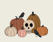 Load image into Gallery viewer, Vintage Halloween Skull, Pumpkins and Crows Wall art