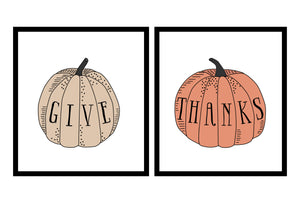 Give Thanks Thanksgiving Pumpkin Illustrations