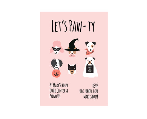 Custom Halloween Puppy Dog Faces Party Invitation Card