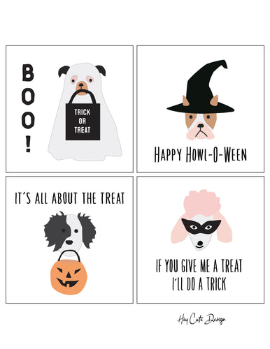 Halloween Puppy Dog Faces Cards