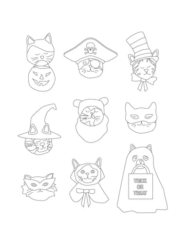 Halloween Kitty Cat Faces Coloring Pages