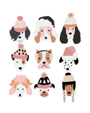 Load image into Gallery viewer, Puppy Dogs in Winter Holiday Hats Pink -  Posters for wall and party decor