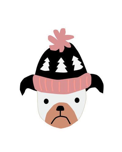 Puppy Dogs in Winter Holiday Hats Pink -  Posters for wall and party decor