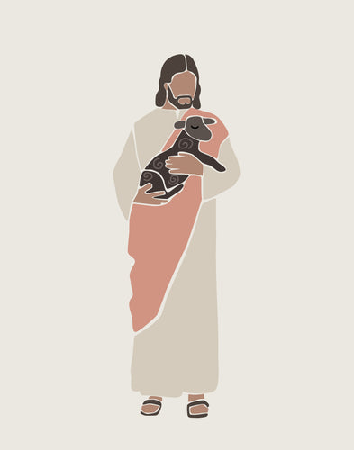 Jesus the Good Shepherd and Lambs - colors