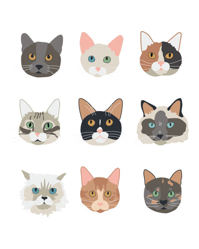 New Kitty Cat Faces (2.0) Wall Art