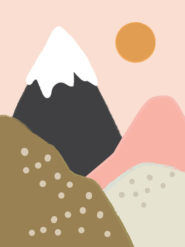Snowy Mountain Wall Art Illustration