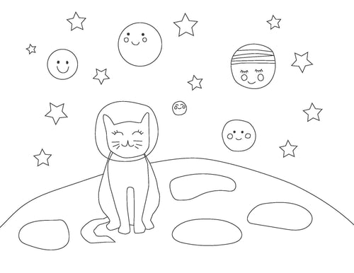 Space Cats Coloring Pages