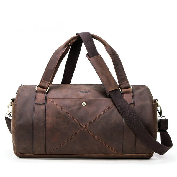 travel bag Retro mad horse cowhide men's   multi-functional leather