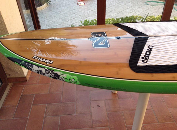 Green Fluor Hibiscus RSPRO on a Moki SUP board