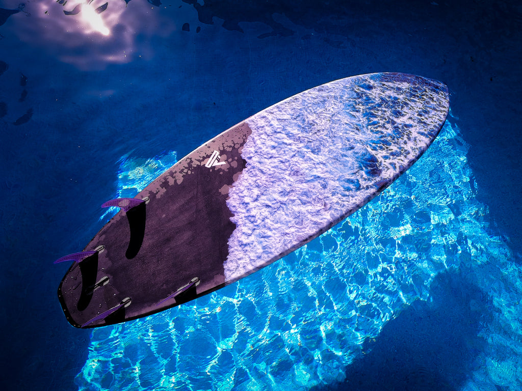 Custom SUP Surf with RSPro HexaTraction and cork Front Deck Grip bottom graphics in the pool