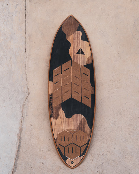 RSPro Front Grip II and Hexa Tail on a wood surfboard