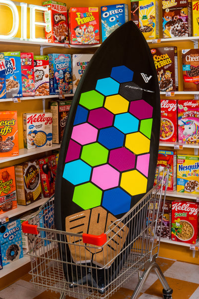 RSPro HexaTraction Candy Shop installed on a surfboard in the supermarket