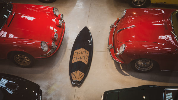 RSPro surfboard number 1 on a classic Porsche leadership