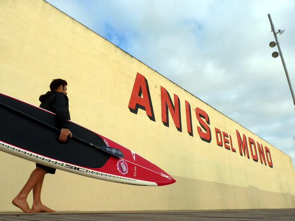 Pepe Oltra RSPro SUP racer at the Anis del Mono factory in Badalona