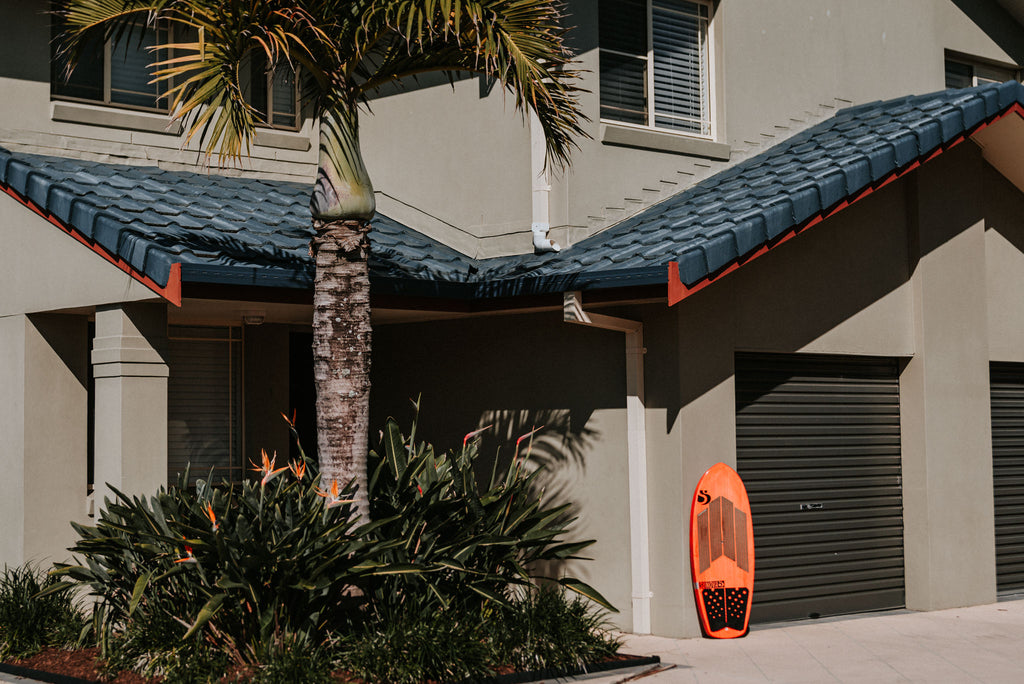 Shannon Stent RSPro ambassador board in front of his house