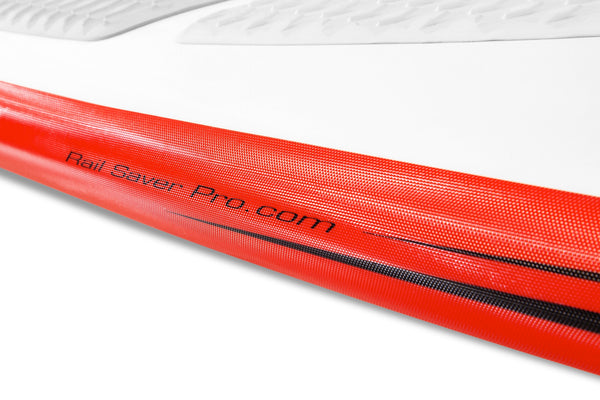 Red colored rail saver for SUP boards
