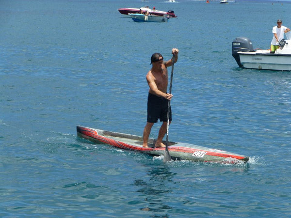 Black Tribal Rail Saver PRO on Starboard SUP race board