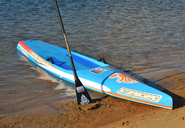 Starboard blue race board and a White Rail Saver PRO