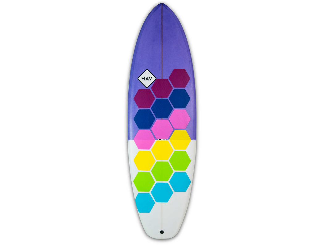 HexaTraction Candy Shop edition installed on a surfboard