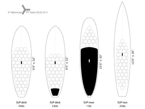 Examples of configurations of HexaTraction on SUP boards