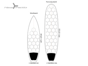 RSPro HexaTraction White Edition layout examples on surfboards