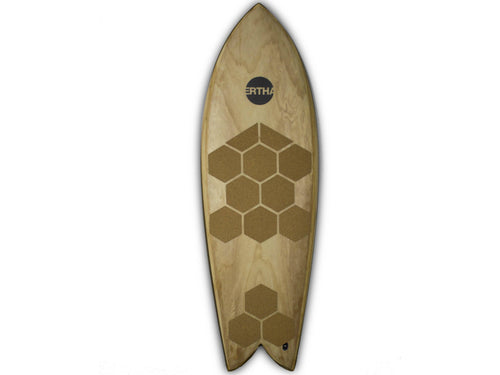 RSPro cork Front Deck Grip Hexa on a wooden surfboard