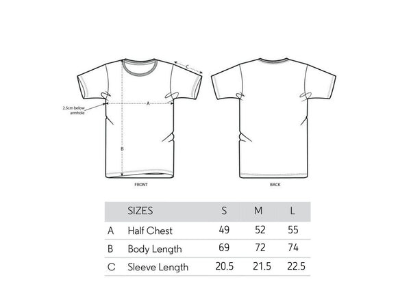 Guadians of the Ocean tee size chart