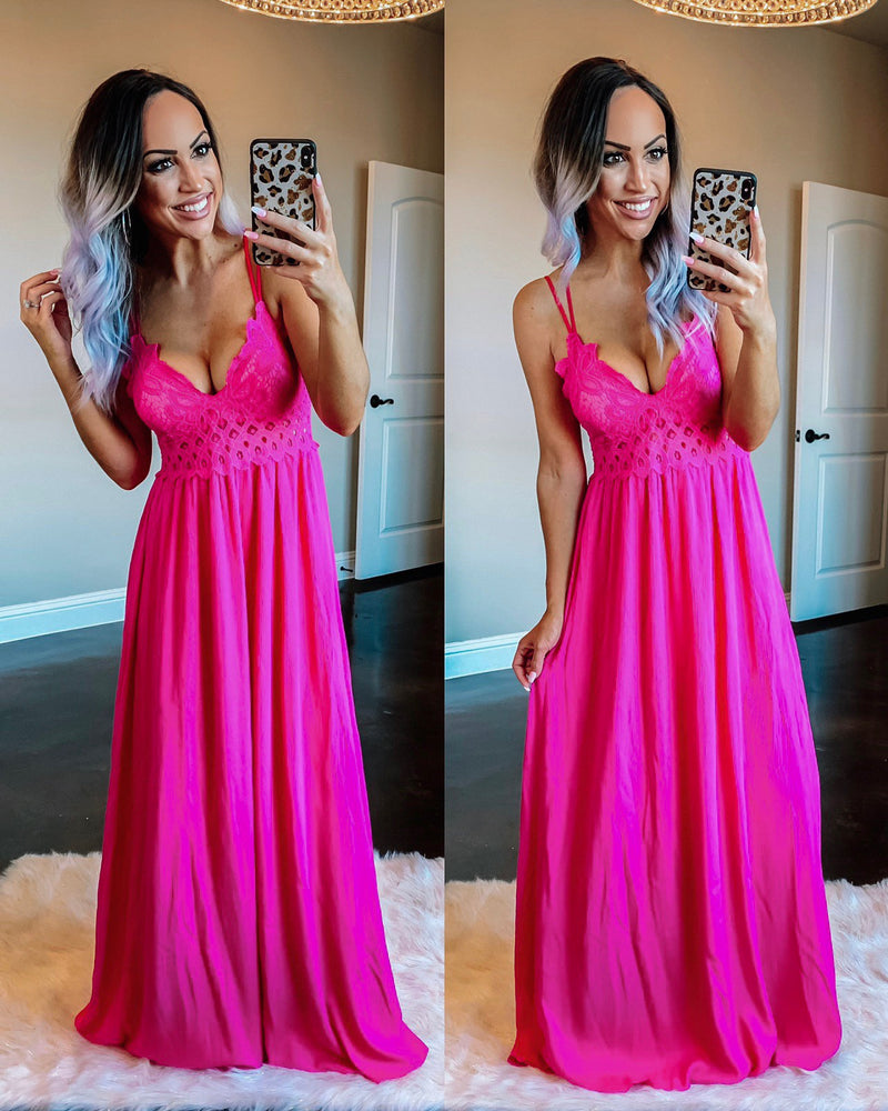 Crochet Lace Maxi Dress - Fuchsia