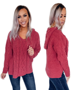Dusty Rose Cable Knit Hoodie {BombDEAL}