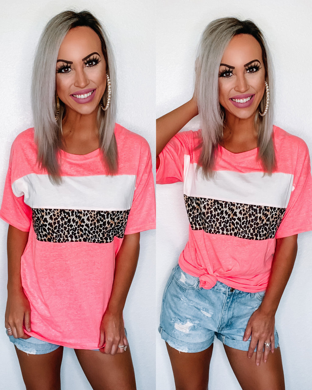 Come As You Are Leopard Jersey Top - Neon Pink