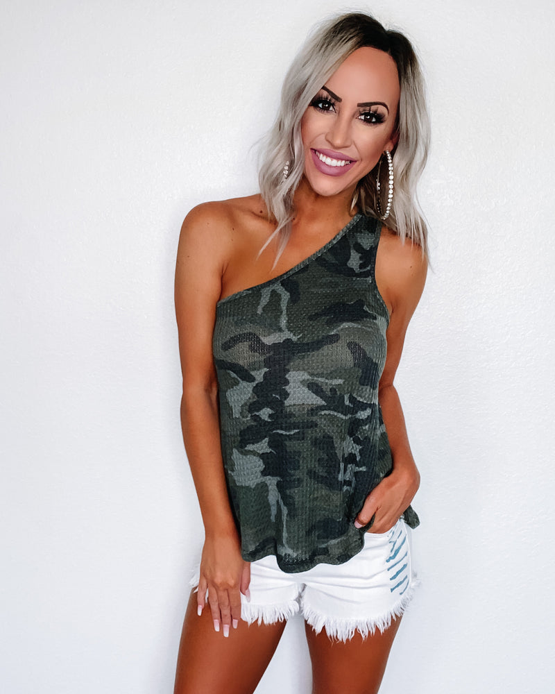 Carry On Camo One Shoulder Top