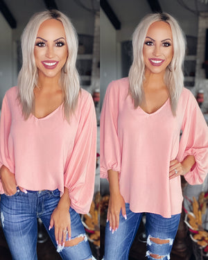 What A Girl Wants Puff Sleeve Top - Mauve