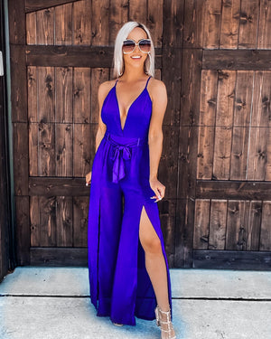 Steal Me Away Jumpsuit - Royal Blue